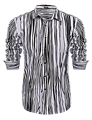 COOFANDY Men's Plaid Checkered Shirt Slim Fit Casual Long Sleeve Button Down Dress Shirts