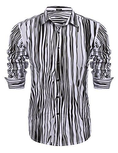 Coofandy Men's Fashion Print Casual Long Sleeve Button Down - Black 80 Fashion
