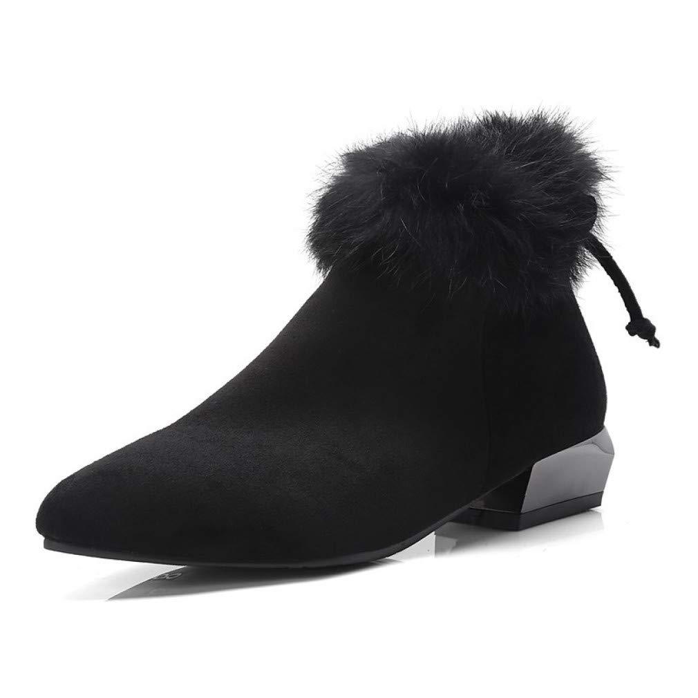 SchuheHAOGE Frauen Stiefelie Suede Herbst & Winter British Stiefel Niedrig Heel Spitz Toe Stiefelies/Stiefeletten Bowknot Schwarz/Dunkelgrau / Khaki