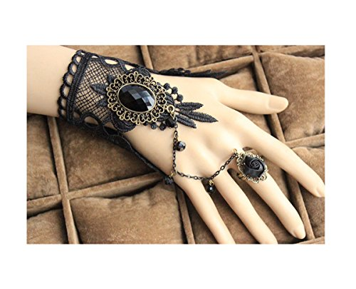 [Gothic Lolita Bracelet Bridal Wedding Venetian Retro Lace Bracelet With Ring Slave Halloween Masquerade Dress,Girlfriend Gift (color bracelet] (Goth Dress)