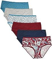 CHEROKEE Womens 6-Pack Microfiber Hipster Panties Underwear Underwear
