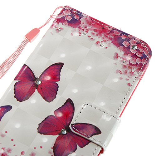 2017 Cover PU Bookstyle Girl Wallet Plum PU Samsung for Clo Case Diamond Bling with Galaxy leather Cover Bling Leather 2017 Magnetic Case Rhinestone Galaxy Sparkling A3 A3 Butterfly Rose Samsung EUWLY Leather Tree Yq5T4T
