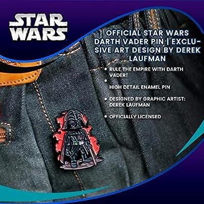 Official Star Wars Darth Vader Pin   Exclusive Art Design by Derek Laufman   Star Wars Series Collectors Pins Grey