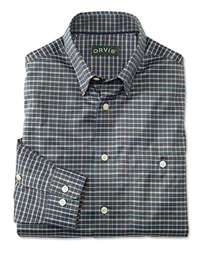Orvis Men's Hidden-Button-Down Wrinkle-Free Cotton Twill Shirt/Tall, Charcoal/Blue, Xx Large