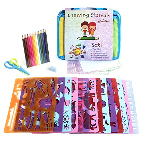 Frecklez Stencil Set | Stencil Kit For Kids | Fabric Travel Bag With Sketch Pad | 300+ Shapes | 15 Stencils | 15 Colored Pencils | Sharpener & Scissors