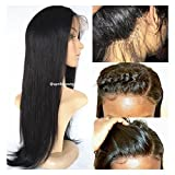 (US) [April Lace Wigs]360 Silk straight human hair wig Pre Plucked Bleached Knots Brazilian virgin 180% density with baby hair natural hairline (14 inches)