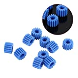 10pcs Plastic D-shaped Shaft Spindle Gear 15 Teeth Blue Color for Aircraft Car Model