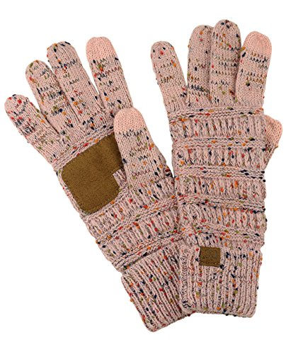 Pink Glove Womens (C.C Unisex Cable Knit Winter Warm Anti-Slip Touchscreen Texting Gloves, Confetti Indi Pink)