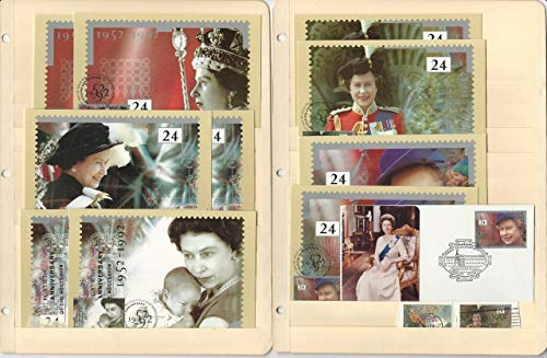Great Britain Stamp Collection, 1992, 1136-40 FDC's, 4 Pages, Queen Elizabeth