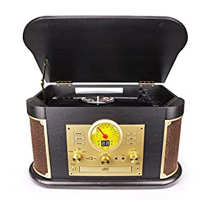 D&L Vintage Record Player, Wooden Turntable, 7-in-1 Bluetooth Phonograph with Built-in Stereo Speakers, CD/Cassette Player, FM Radio, USB/SD Play & Encoding,Turntable for Vinyl Records