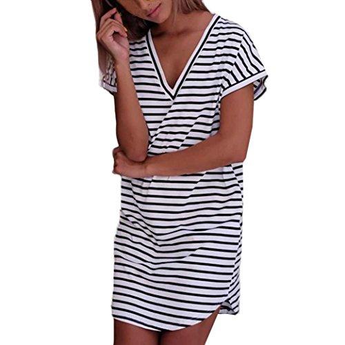 La Flojo Oyedens De Rayado La Manera De Raya La De Camiseta En Cortocircuito Las De Vestido Vestido Pone La Mujeres Manga El wTUqfdxCII