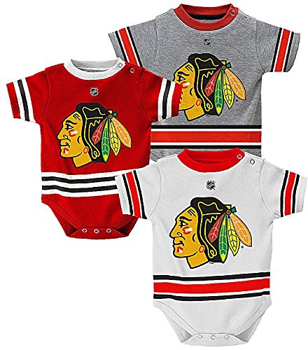Chicago Blackhawks Reebok 3-Pack Infant Creeper Set (24MO)