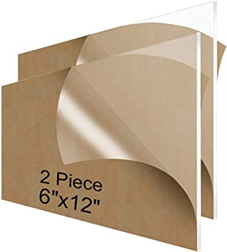 Amazon Com Niubee Acrylic Plexiglass Sheet 6x12 Inches 2 Piece 1 8 Inch Thick Clear Plastic Perspex Plate Panel Office Products