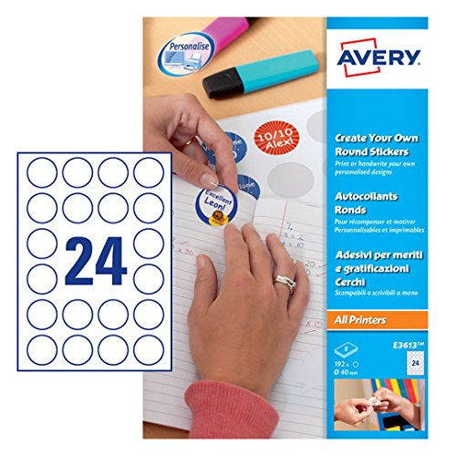 Avery E3613 Self-Adhesive Round Labels, 24 Labels Per A4 Sheet