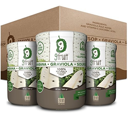 3 Pack of GFruit - Guanabana Fruit  Graviola Pulp  Soursop 100% Natural & Healthy - 20 Oz (Bundle of 3 Jars)