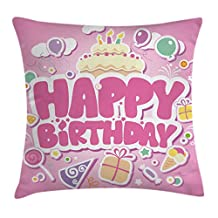 Birthday Decorations for Kids Throw Pillow Cushion Cover by Ambesonne, Cartoon Seem Party Image Balloons Boxes Clouds Cake Image, Decorative Square Accent Pillow Case, 16 X 16 Inches, Light Pink