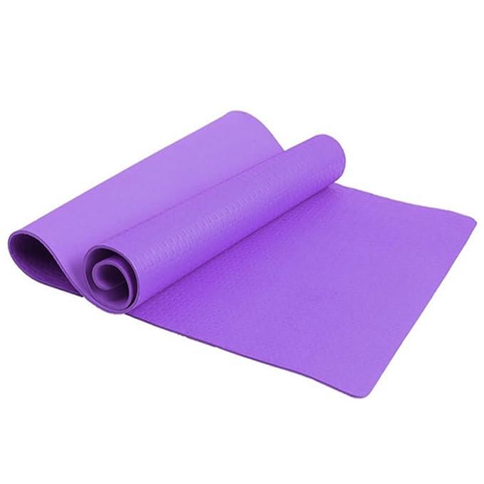 Esterilla de yoga de 4 mm de grosor, antideslizante, para ejercicios de salud y pérdida de peso morado