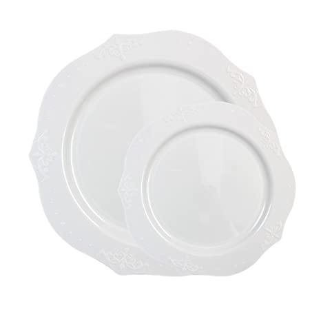 Posh Setting Antique Collection Combo Pack China Look White Plastic Plates(Includes 4 Packs  sc 1 st  Amazon.com & Amazon.com: Posh Setting Antique Collection Combo Pack China Look ...