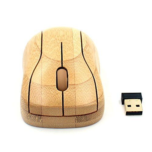 Techase Wireless Mouse MG95 Raton Inalambrico Bamboo 2.4GHz USB Mause Souris Ordinateur Gaming Computer Mouse Souris Sans Fil