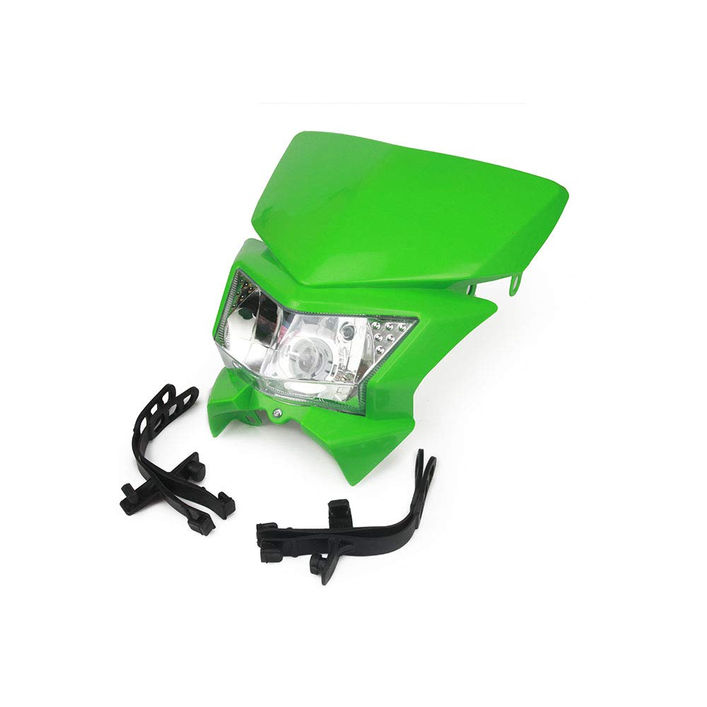 Fast Pro Motorcycle Green Headlight Head light Head Lamp with Universal Mounting Kits for Most Enduro And Supermoto Bike