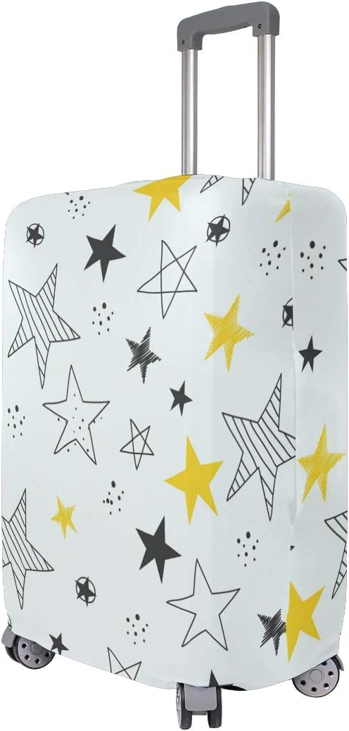 Travel Luggage Cover Hand Drawn Stars Pattern Yellow Black Suitcase Protector