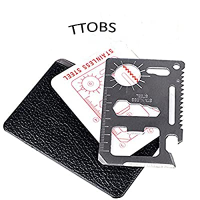 TTOBS 11 in 1 Credit Card Wallet Knife. Stainless Steel Survival Multitool Utility. Perfect Tool for Bug Out Bag, Camping or Fishing. Include Knife, Saw, Bottle Opener, Can Opener, Slot Head Screwdriver, Ruler, 4 Position Wrench and More!(1pcs,10pcs,20pcs