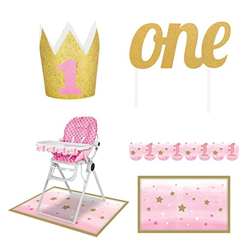 1st Birthday Decorations Pink and Gold for Girls 3 pc. Party Bundle with High Chair Kit, Crown and Cake Topper -