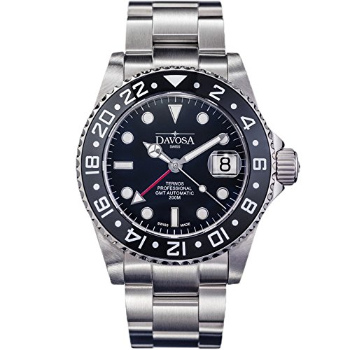 Best Divers Watch (Davosa Swiss Made Professional Men Watch, Ternos 16157150 Automatic Illuminated Analog Display with Dual Time, Stylish Wrist Band & Ceramic Bezel)