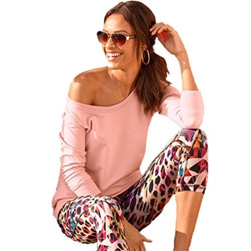 Dooxi Mujer Color Solído Mangas Largas T-Shirt Moda Casual T-Shirts Pink
