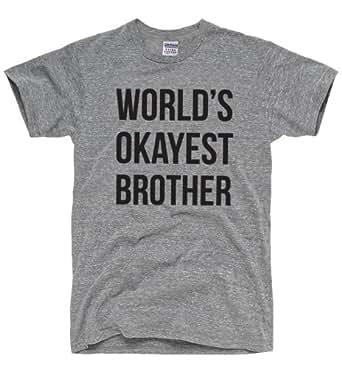 DirtyRagz Men's World's Okayest Brother T-Shirt S Heather Grey