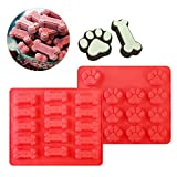 Product review for BESTOMZ 2 Pack Trays Puppy Pets Dog Paws Bones Silicone Baking Molds, Bake Dog Treats For Pets, Kids, Dog-lovers