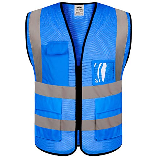 evershare 1 Pack, Class 2 High Visibility Safety Vests Reflective with Pockets and Zipper Bright Breathable High Reflective Strips Mesh Fabric Security Vest Meets ANSI/ISEA Standards (XL/XXL), Blue