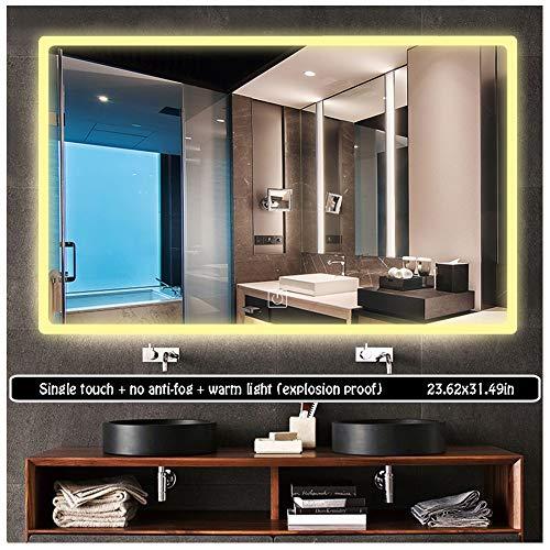 60 x 80cm Led Rectangular Mirror Illuminated LED Bathroom Mirror Light Sensor -