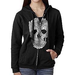Womens Hoodie Sweatshirt Sketchy Cat Skull Long Sleeve Zip-up Hooded Sweatshirt Jacket S