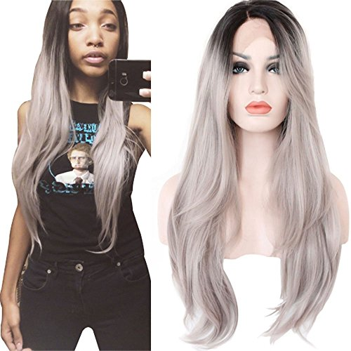 Heahair® Retro Layered Long Straight Silver Gray Dark Roots Mermaid Witch Handmade Heat Resistant Synthetic Lace Front Wig (Costume Ideas For Men With Beards)