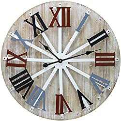 Sorbus Wall Clock, 24 Round Oversized Centurian Roman Numeral Style Home Décor Analog Wooden Metal Clock