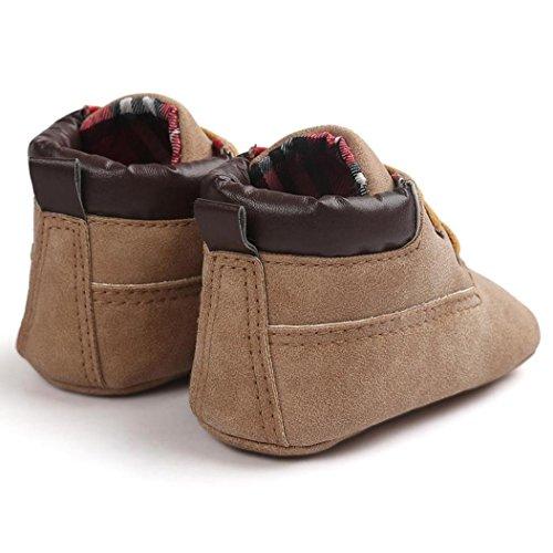 Koly Zapatos de cuero suave de la muchacha del muchacho del niño del bebé (13, Gris) Caqui 01