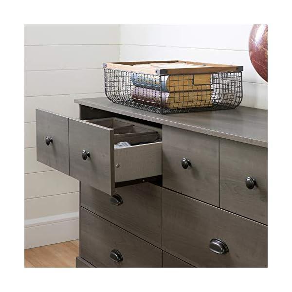 South Shore Volken 6-Drawer Double Dresser-Gray Maple