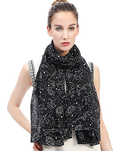 Lina & Lily Constellation Stars Print Women's Large Scarf Lightweight (Black) (Lily Star)