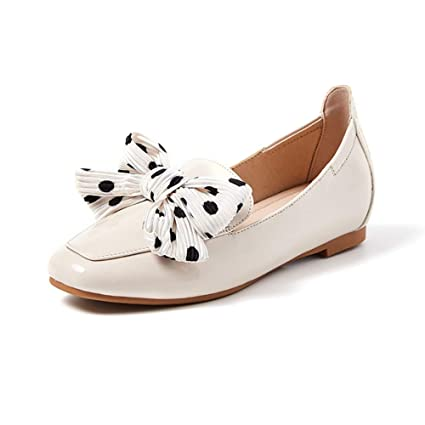 8a0f5f3cd5c N.Y.L.A. YXX-Shoes Female Spring Polka Dot Bow Flat Slip On Loafers Shoes