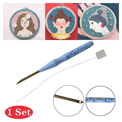 Punch Needle Kit Embroidery Starter Kits Includes Adjustable Rug Yarn Punch Need