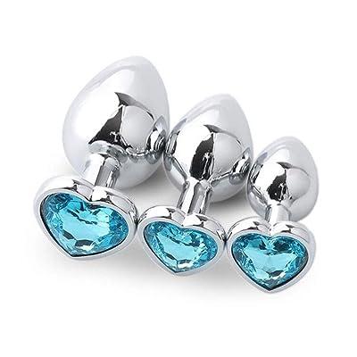 3 pcs en Forme de Coeur en Acier Inoxydable Diamant Bijoux Chambre Jouets pour Couple (Couleur aléatoire)