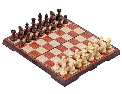 Magnetic Travel Chess Set - Kidami Folding Magnetic Travel Chess Set, Lightweight, with Portable Cute Storage Bags for Easy Carry, 12.4 x 10.6 x 0.8 Inch