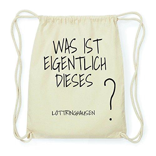 JOllify LÖTTRINGHAUSEN Hipster Turnbeutel Tasche Rucksack aus Baumwolle - Farbe: natur Design: Was ist eigentlich XM7gz
