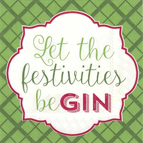 BE GIN Let the festivities beGIN Christmas Cocktail or Tea Napkins paper 25 cm square 20 in pack IHR