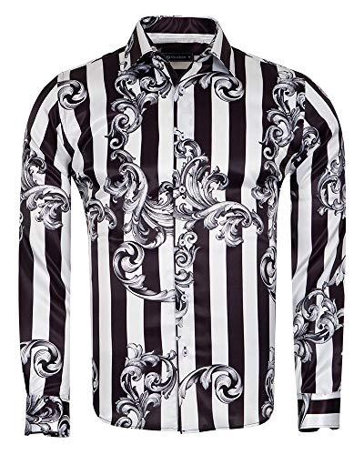 d9e8b78c7112 Oscar Banks Striped and Printed Long Sleeved Satin Shirt SL 6730 Black