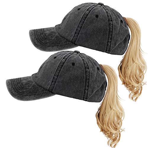 (FADA Ponytail Baseball Hat Distressed Retro Washed Cotton Twill Hat with Ponytail Hole 2 Packs)