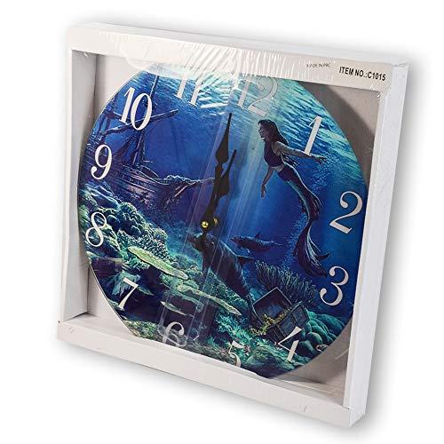 Mermaid Glass Wall Clock New 13X 13 Home Wall Decor Coastal Nautical Beach Sea Creations C1015