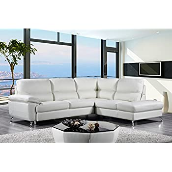 Cortesi Home Contemporary Miami Genuine Leather Sectional Sofa with Right Chaise Lounge Cream  sc 1 st  Amazon.com : sofa chaise leather - Sectionals, Sofas & Couches