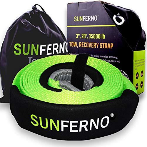 "Ultimate Tow Recovery Strap 35000lb - Recover Your Vehicle Stuck in Mud/Snow - Heavy Duty 3"" x 20' Winch Snatch Strap - Protective Loops, Water-Resistant - Off Road Truck Accessory - Bonus Storage Bag"